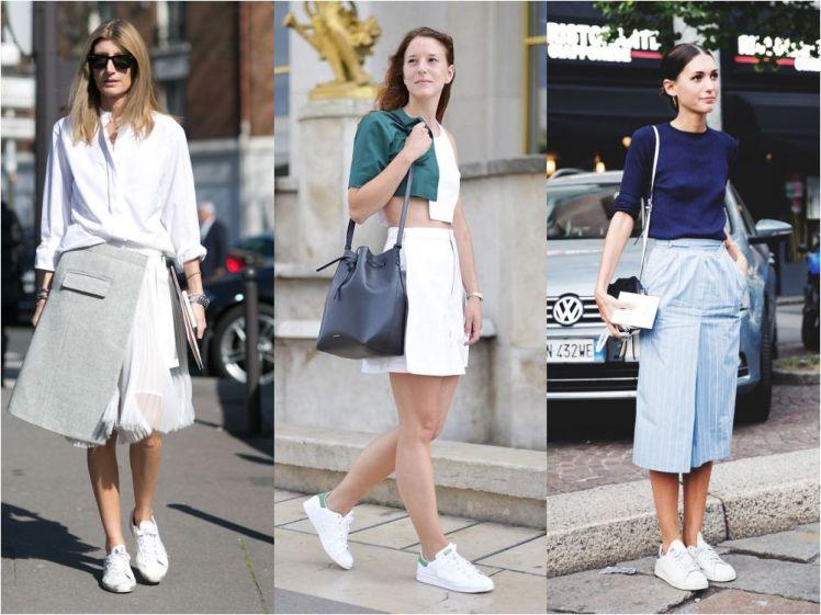 white-sneaker-skirt-street-style